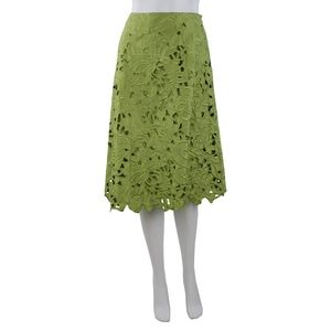 Lafayette 148 Green Floral Lace A Line Skirt